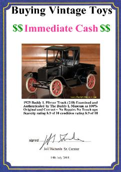 buying antique toys, buying vintage toys, buddy l flivver, antique buddy l truck, buddy l truck value, rare buddy l trucks, antique buddy l trucks, buddy l trucks price guide, buddy l truck identification, buddy l, buddy l toys price guide, free toy appraisals, buying old toys, www.buddylmuseum.com