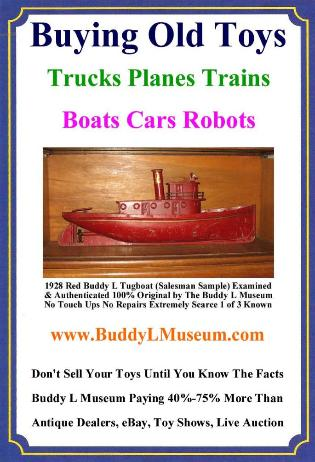 Antique Buddy L Toys Value Guide, 1920s Buddy L Tugboat Information, Buddy L Tugboat available for sale. Buddy L Toy Museum specializing in Buddy L Tugboats, Buddy L Trucks, Buddy L Cars, Antique Buddy L Trains Buddy L Tug Boat Prices Information